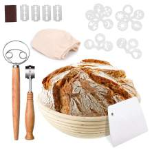Bread Proofing Baskets Set, PATIOPTION Banneton Baskets Round Banneton Proofing Baskets Used for Making Sourdough Bread with Liner+Bread Lame+Dough+Scraper+Whisk+Stencils Baking Bowl Gift for Bakers