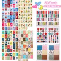 Sticker Sets(4 Boxes 200 Stickers + 6 Pages 140 Stickers)Handy Painting, Flowers Pattern, Alice Princess Fantasy, Snow White for Diary, Drawing, Notebook, Handcraft, Calendar, Wall, Decorations,Gifts