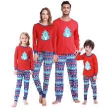 YIJIU Christmas Pajamas Cute Deer Print Long Sleeve Totem PJS Set