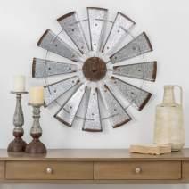 "Glitzhome 28"" Farmhouse Galvanized Windmill Wall Sculpture Home Decor Rustic Metal Rustic Wall Art Decoration, Silver"