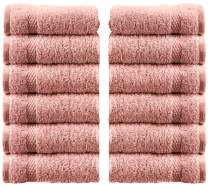 White Classic Luxury Cotton Washcloths - Large Hotel Spa Bathroom Face Towel | 12 Pack | Pink