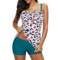Zando Womens Tankini Swimsuits Tummy Control Swimsuits for Women Two Piece Bathing Suits Floral Tankini Top with Boyshort