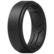 ThunderFit Silicone Rings for Men - 7 Rings / 4 Rings / 1 Ring - Breathable Patterned Design Sleek Step Edge 8mm Width - 2.2mm Thickness