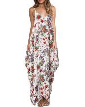 ZANZEA Women's Floral Print V Neck Spaghetti Strap Summer Bohemian Long Maxi Dress Beach Sundress