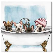 Oliver Gal 'Frenchies In The Tub' The Dogs and Puppies Wall Art Decor Collection Contemporary Premium Canvas Art Print