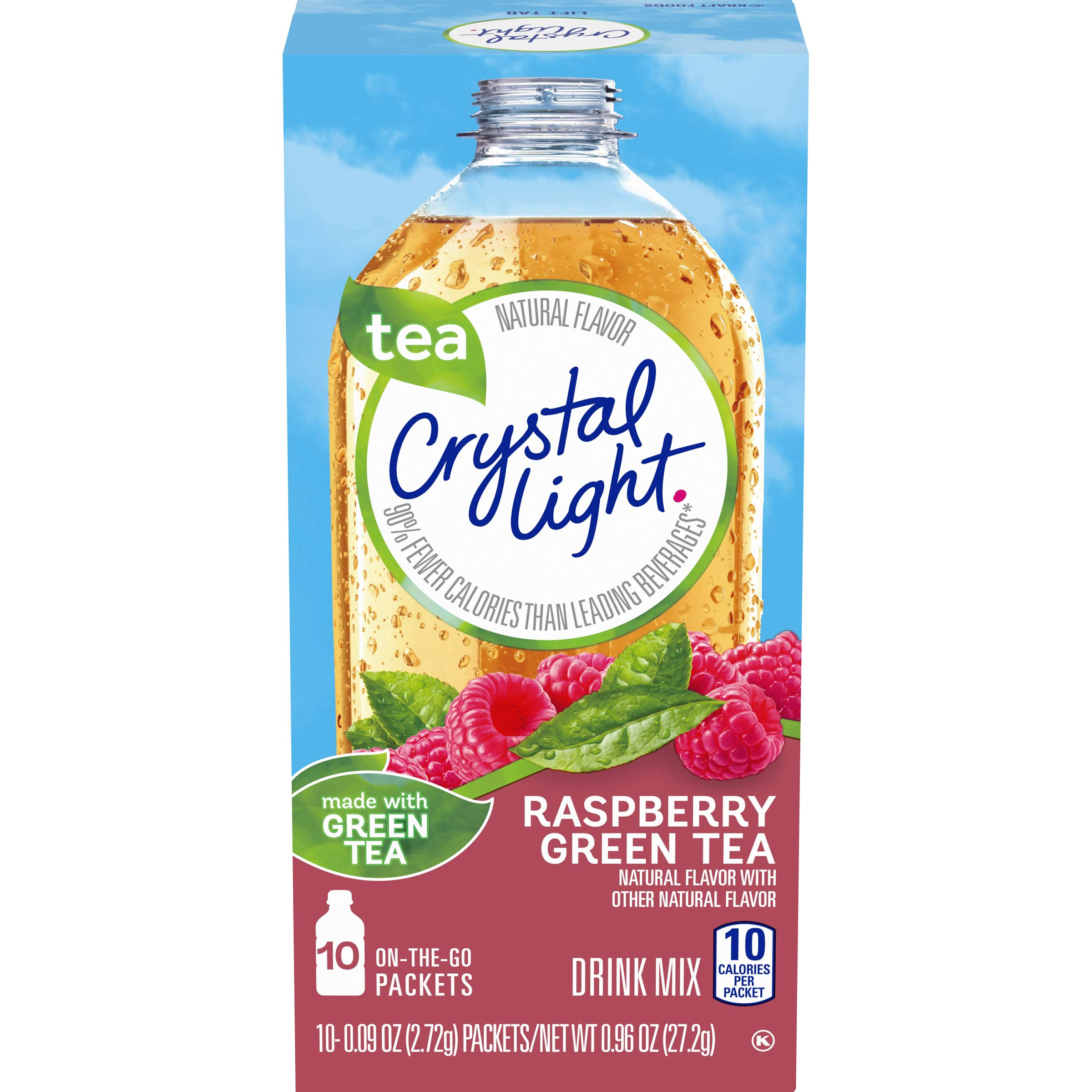 Crystal Light On-The-Go Sugar Free Raspberry Green Tea Powdered Drink Mix, 10 ct - 0.09 oz Packets