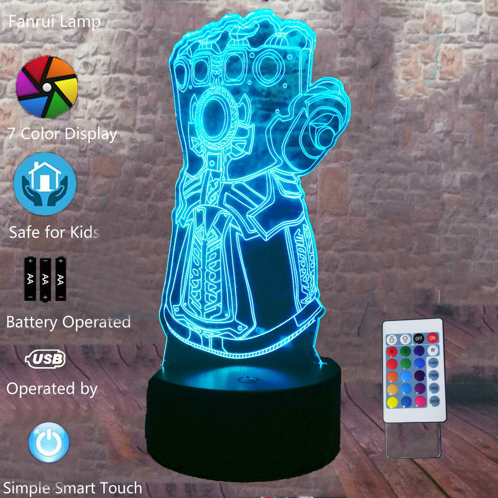 Fanrui Avengers Thanos Infinity Gauntlet Lamp - Marvel Legends Series Infinity War Thanos Gloves - 3D Soft 7 Colors Change LED RGB Night Light - Boys Bedroom Deco - Child Kids Teens Friends Toys Gifts
