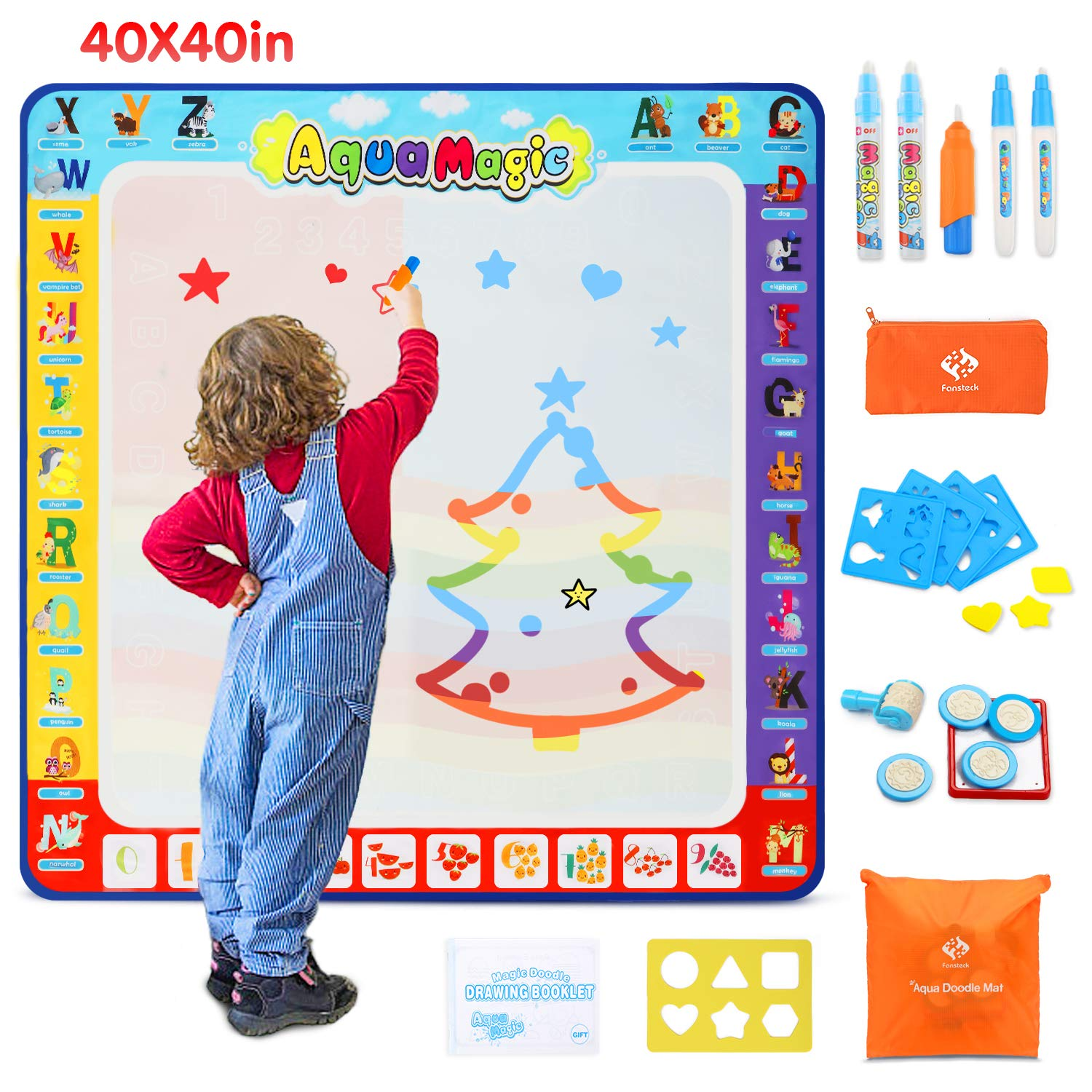 Fansteck Water Doodle Mat, Large Water Drawing Mat 40X40 inch, No Mess Aqua Magic Doodle Mat with 24 Accessories, Colorful Educational Toy and Ideal Gift for Toddlers, Boys, Girls Age of 2 3 4 5 6 7 8