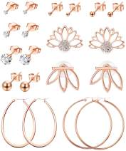 LOYALLOOK 10 Pairs Rose Gold Tone Earrings Women Tiny Ball Bar Stud Earrings Set Lotus Flower Earrings Jacket Stud Hoop Stainless Steel Earring Set