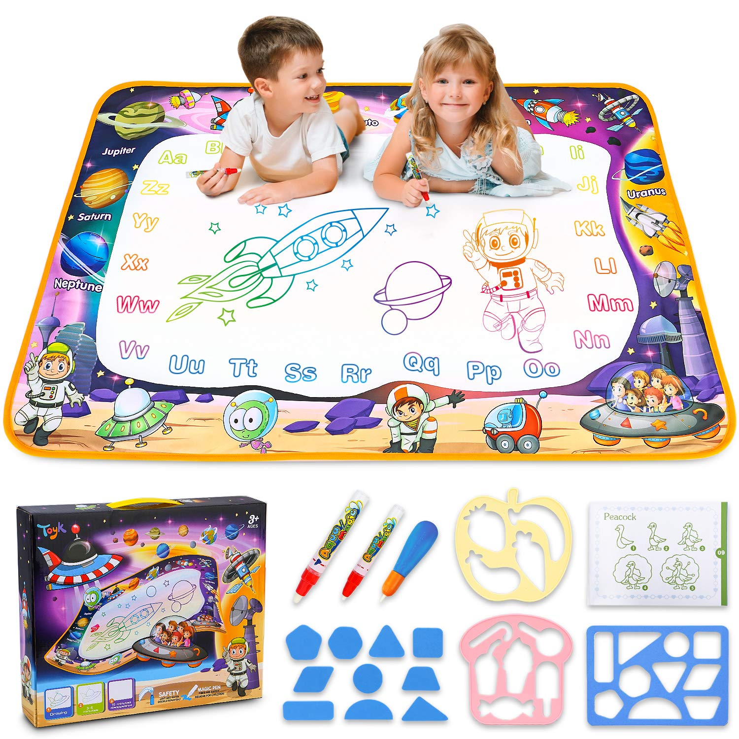 Aqua Magic Mat - Kids Painting Writing Doodle Board Toy - Color Doodle Drawing Mat Bring Magic Pens Educational Toys for Age 3 4 5 6 7 8 9 10 11 12 Year Old Girls Boys Age Toddler Gift