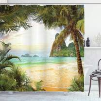 """Ambesonne Ocean Shower Curtain, Palm Coconut Trees and Ocean Waves Mountains on Paradise Island Beach Image, Cloth Fabric Bathroom Decor Set with Hooks, 84"""" Long Extra, Green Cream"""
