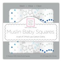 SwaddleDesigns Cotton Muslin Squares, Set of 3, Blue Starshine Shimmer