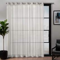 Exclusive Home Curtains Belgian Sheer Textured Linen Look Jacquard Single Patio Panel, 108 x 84, Snowflake
