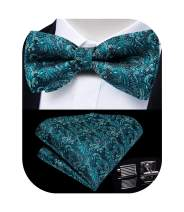 Paisley Bow Tie Set for Men, DiBanGu Formal Woven Pretied Bow Tie with Pocket Square Cufflinks Wedding (Teal Paisley)