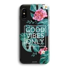 Compatible iPhone X Case,Girly Cute Flowers Vintage Blooms Roses Aloha Love Summer Tropical Colorful Hawaii Floral Good Vibes Only Palm Tree Beach Trendy Floral Rose Girls Women Clear iPhone X/Xs Case