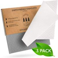 SUPERSCANDI Very Large Swedish Dishcloths Eco Friendly Reusable Sustainable Biodegradable Cellulose Sponge Paper Towel Replacement Washcloths (Large Cleaning Cloth – 3 Pack Grey and White)