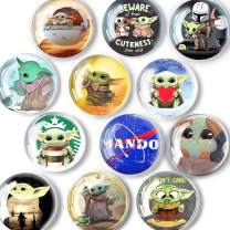 Glass Baby Yoda Magnets for Fridge, Mini Cute Magnets for whiteboard Lockers Refrigerator Office Cabinet Dishwasher Magnets Decorative Cover Hold Photo