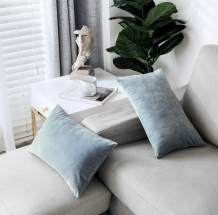 """PHF Velvet Throw Pillow Covers Rectangle Lumbar Cushion Covers Pack of 2 12"""" x 20"""" Home Decorative Soft Boho Pillow Covers for Sofa, Couch, Bed, Car Greyish Blue"""
