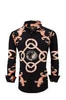 Men's Premiere Designer Fashion Dress Shirt Casual Shirt Woven Long Sleeve Button Down Shirt (3XL, Black & Gold Rings 616)