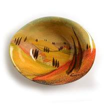 """Tuscan Medium Bowl with Hand Painted Countryside Art – Modigliani """"Sogno Toscano"""" Elegant Tuscan Ceramics Features: Italian Landscape, Cypress Trees & Wineries"""