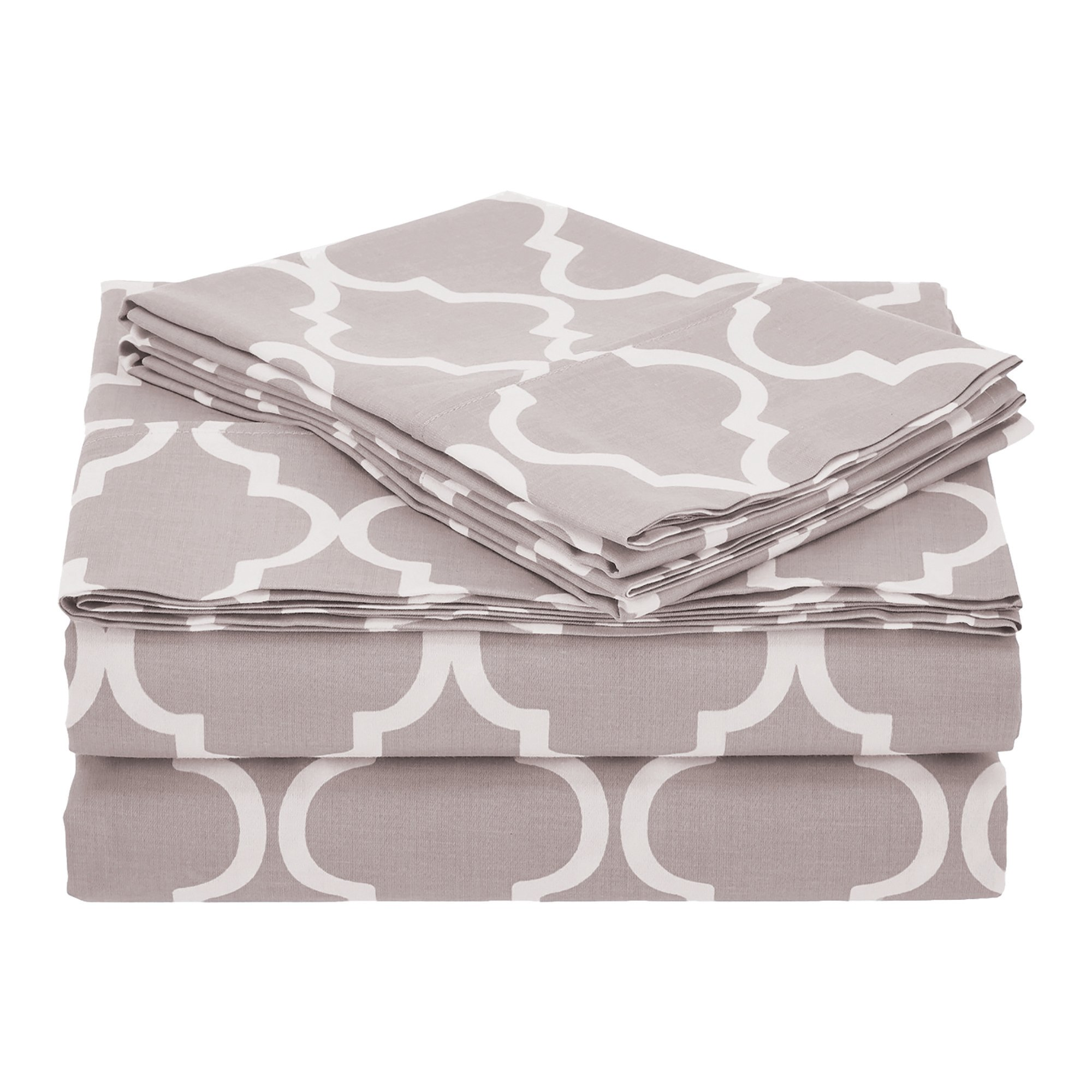 Superior 100% Cotton Trellis Geometric Bedding, 3 Piece Sheet Set, Soft and Breathable Cotton Sheets, 300 Thread Count with Deep Fitting Pockets - Twin, Grey