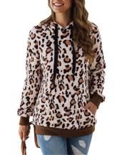 Adibosy Women Long Sleeve Fleece Sherpa Pullover Fuzzy Block Plaid Print Sweatshirt Outwear with Front Pocket