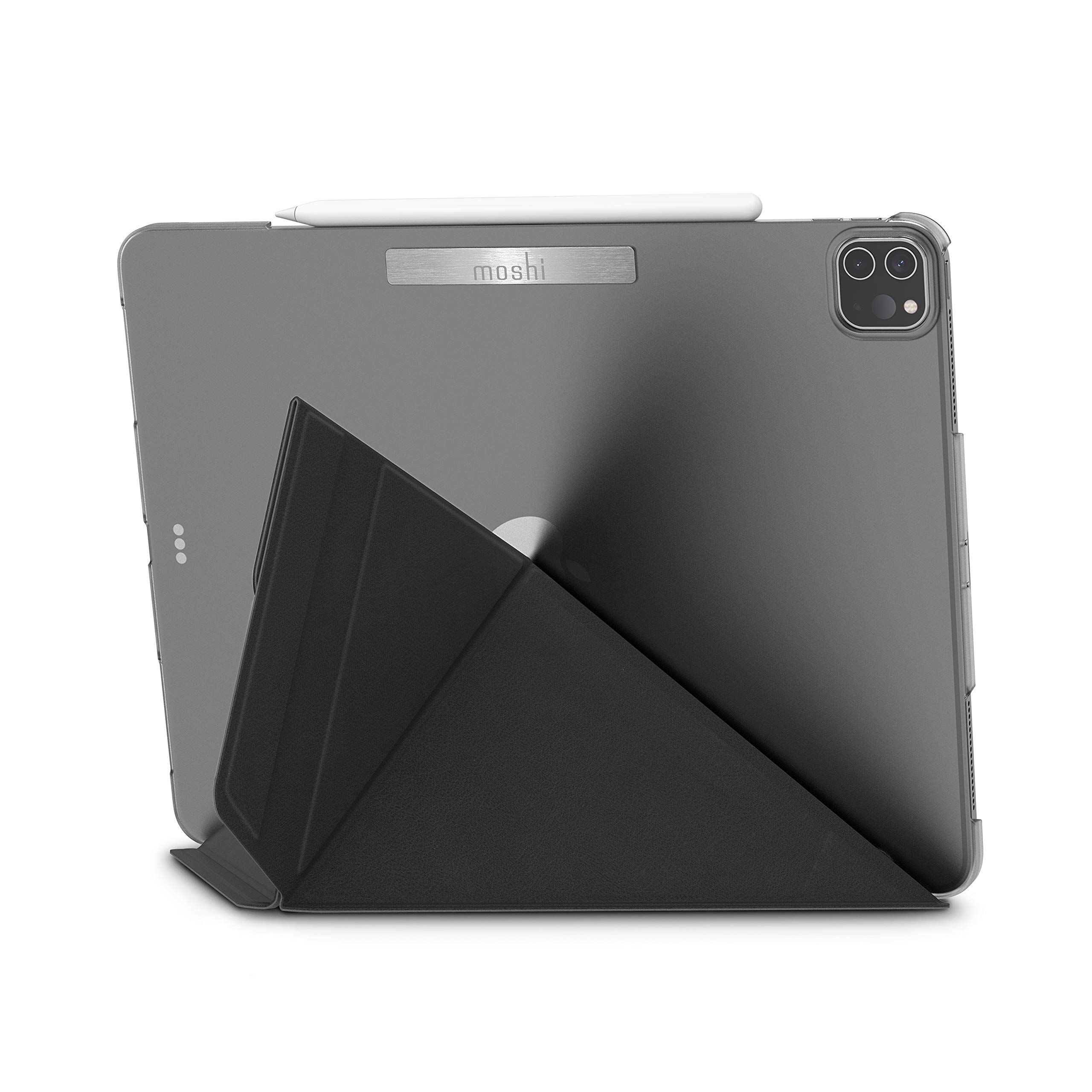 """Moshi VersaCover Case for iPad Pro 12.9"""" 2020 4th Gen & 2019 3rd Gen, Folding Cover with 3-Viewing Angles, Support iPad Pencil Charging, Auto Sleep/Wake, Magnetic Closure, Charcoal Black"""