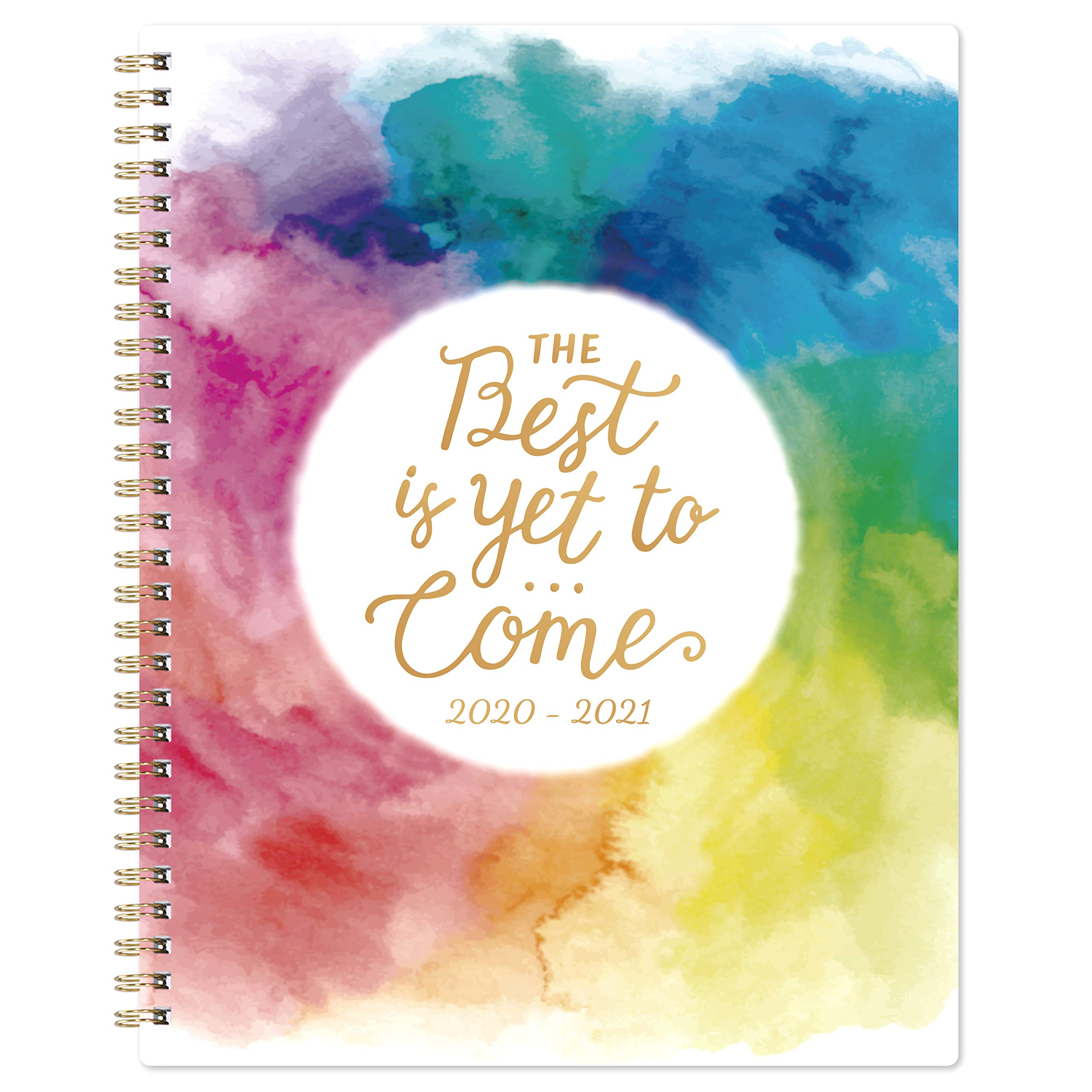 """Planner 2020-2021- Academic Weekly & Monthly Planner with Twin-Wire Binding, 8"""" x 10"""", July 2020 - June 2021, Thick Paper with Marked Tabs + to-Do List + Info Page + Holidays - Watercolor Ink"""