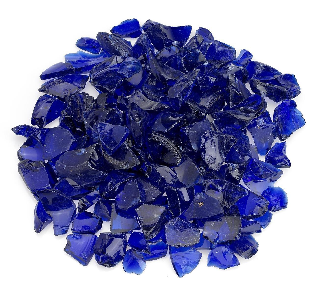 American Fireglass Dark Blue Recycled Fire Pit Glass - Medium (18-28Mm), 10 lb. Bag