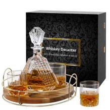 Whiskey Decanter Sets with Revolving Stand, glasses whiskey decanter wiskie glasses set bar glass set With4 Glasses Rotating Stand Wooden Base whiskey sets for men 650 Milliliter