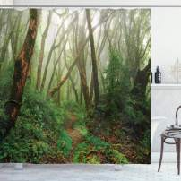 """Ambesonne Forest Shower Curtain, Spooky Tropical Exotic Fog Jungle in Rainforest Nepal Climate Picture Print, Cloth Fabric Bathroom Decor Set with Hooks, 84"""" Long Extra, Green Brown"""