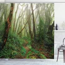 """Ambesonne Forest Shower Curtain, Spooky Tropical Exotic Fog Jungle in Rainforest Nepal Climate Picture Print, Cloth Fabric Bathroom Decor Set with Hooks, 70"""" Long, Green Brown"""