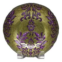 Red Pomegranate Damask Bowl Green Purple 7.5-Inch