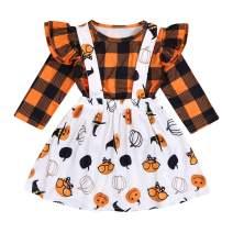 Kids Baby Little Girls Halloween Outfit Plaid Ruffle Sleeve Tops Funny Pumpkin Dress Skirt Set