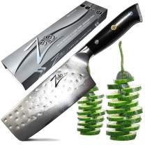 Zelite Infinity Nakiri Chef Knife 6 Inch - Alpha-Royal Series - Japanese AUS-10 Super Steel 67-Layer Damascus - Razor Sharp, Hammered Tsuchime Finish