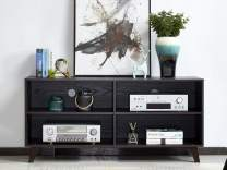 """Mixcept Wooden TV Console 52"""" TV Media Stand Entertainment Center with 4 Compartments, Storage Cabinet with Solid Wood Legs for Bedroom & Living Room, Espresso"""
