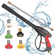 PROWESS PRO High Pressure Washer Gun 4000 PSI M22 x 14mm Inlet Fitting with 21 Inch Extension Wand Lance & 5 Quick Connect Nozzles