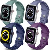 Getino Band Compatible with Apple Watch 40mm 38mm for Women Men, Stylish Durable Soft Silicone Sport Bands for iWatch SE & Series 6 5 4 3 2 1, 4 Pack, Purple, Midnight Blue, Blue Gray, Pine Green, S/M
