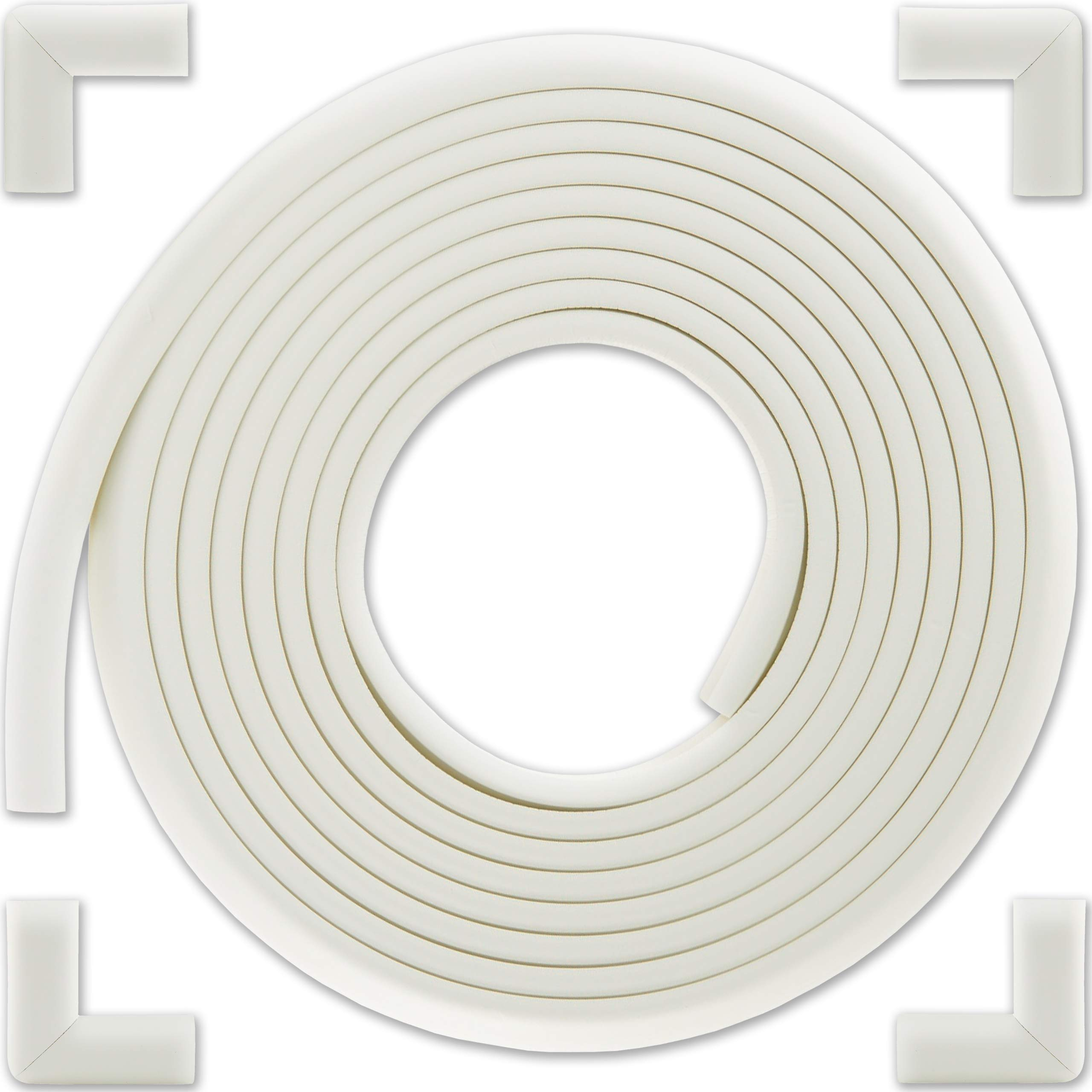Bebe Earth - Baby Proofing Edge and Corner Guard Protector Set - Safety Bumpers - Child Proof Furniture and Tables - Pre-Taped Bumper Corners (16.4 feet and 4 Corners, Oyster White)