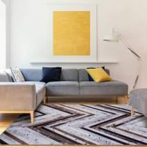 Decomall Faux Cowhide Patchwork Printed Area Rug Geometric Herringbone for Living Room Bedroom, Multi, 8x10'