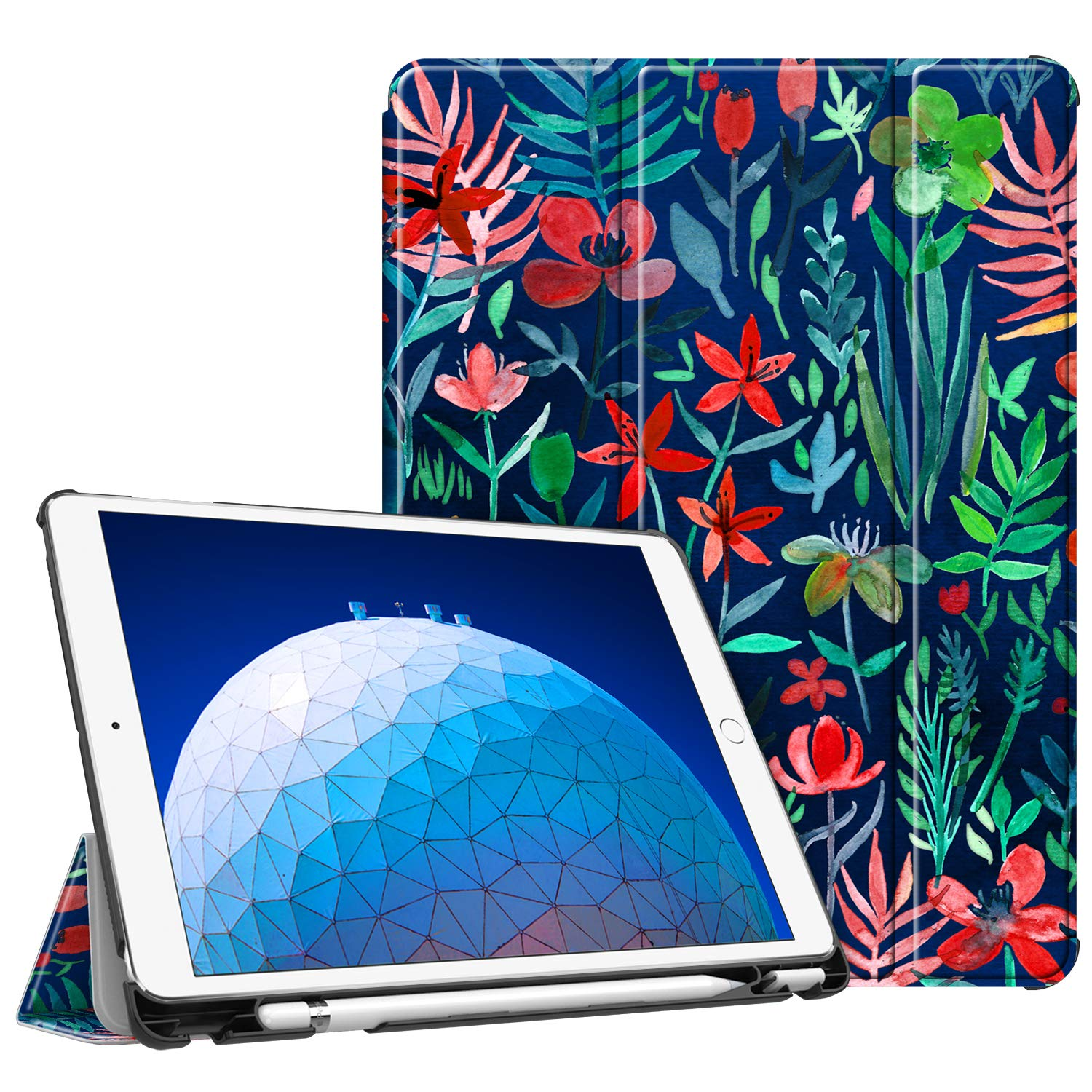"""Fintie Case for iPad Air (3rd Gen) 10.5"""" 2019 / iPad Pro 10.5"""" 2017 - [SlimShell] Ultra Lightweight Standing Protective Cover with Built-in Pencil Holder, Auto Wake/Sleep (Jungle Night)"""