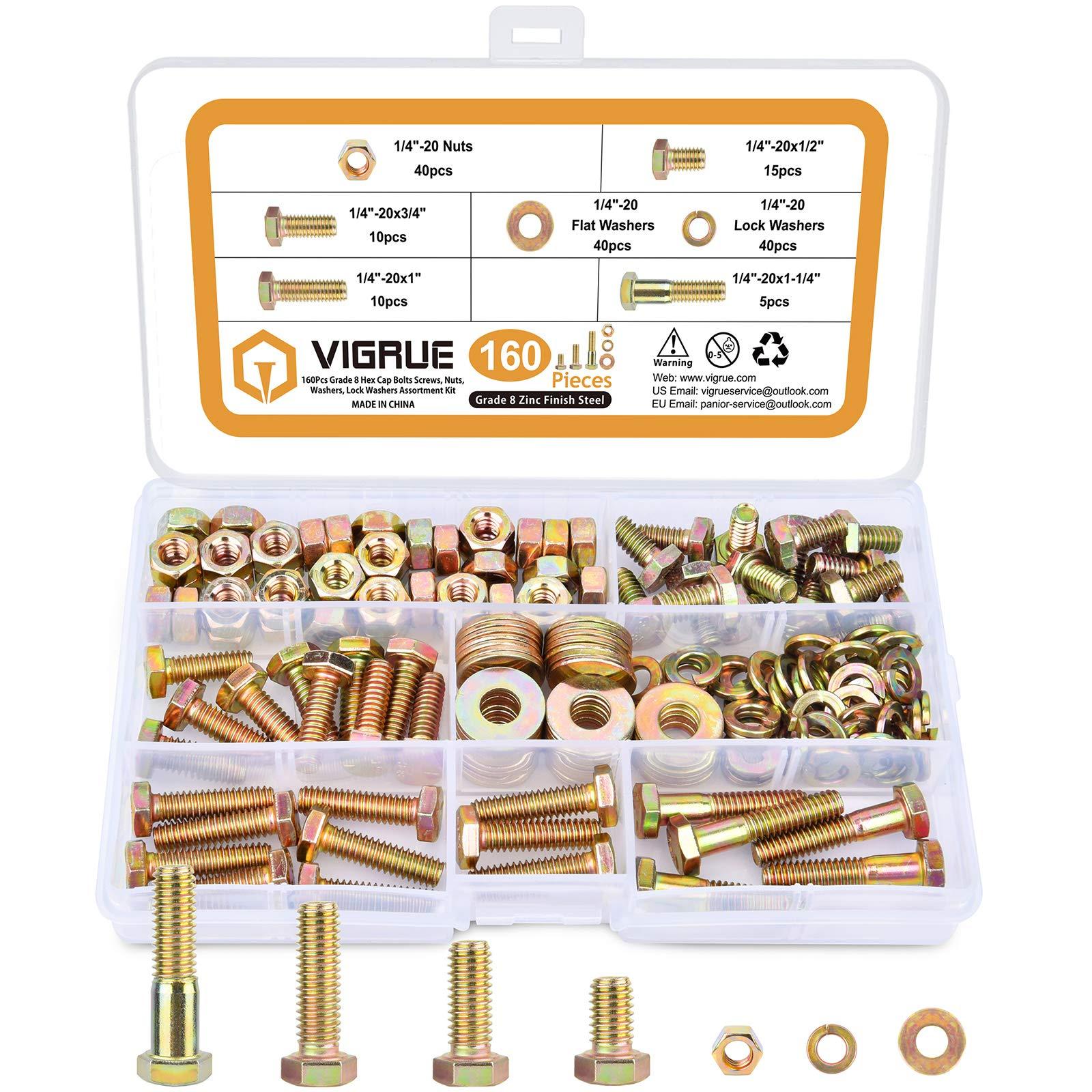 """VIGRUE 160Pcs 1/4""""-20 Grade 5 Hex Cap Bolts Screws Nuts Flat Washers Lock Washers Assortment Kit, Zinc Finish Steel, Coarse Thread, 4 Sizes Total"""