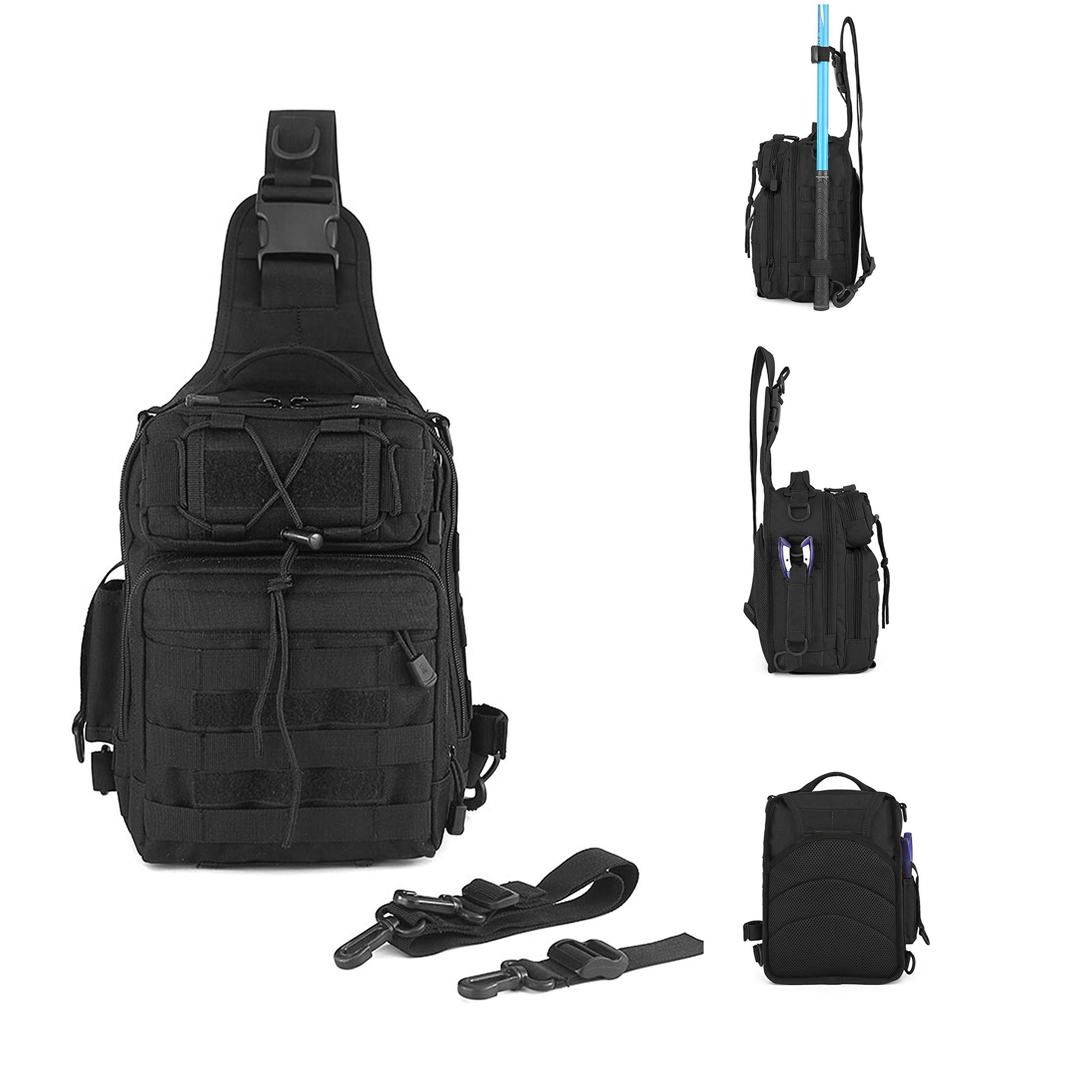 Huntvp Single Shoulder Fishing Tackle Bag Backpack Water-Resistant Crossbody Fishing Backpack Fishing Gear Storage Bag Hunting Backpack