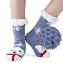 Uideazone Women's Christmas Slipper Socks Winter Fleece Lining Fuzzy Cozy Non-Slip Knee High Stockings