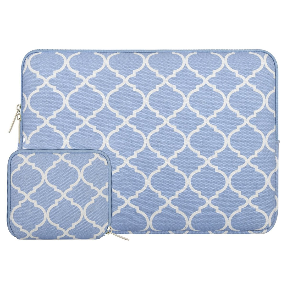 MOSISO Laptop Sleeve Compatible with 13-13.3 inch MacBook Pro, MacBook Air, Notebook Computer, Canvas Quatrefoil Bag Cover with Small Case, Serenity Blue