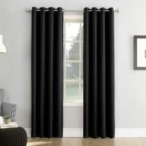 """Sun Zero Easton Blackout Energy Efficient Grommet Curtain Panel, 54"""" x 84"""", Black"""