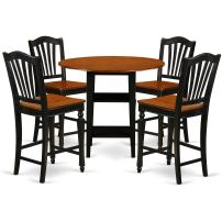 5 Piece Sudbury Set With One Round Counter Height Dinette Table And 4 Dinette Stools With Wood Seat In A Elegant Black and Cherry Finish.