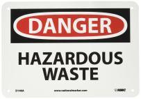 """NMC D140A OSHA Sign, Legend """"DANGER - HAZARDOUS WASTE"""", 10"""" Length x 7"""" Height, 0.040 Aluminum, Black/Red on White"""