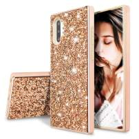 WATACHE Galaxy Note 10 Case, Heavy Duty Glitter Bling 2 in 1 Rugged Hybrid Soft TPU Inner + Hard PC Outer with Crystal Shiny Diamond Protective Shockproof Case for Galaxy Note 10,Champagne Gold