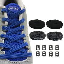 2 Pairs No Tie Shoelaces Elastic Shoe Laces - One Size Fits All Adult and Kids Shoes